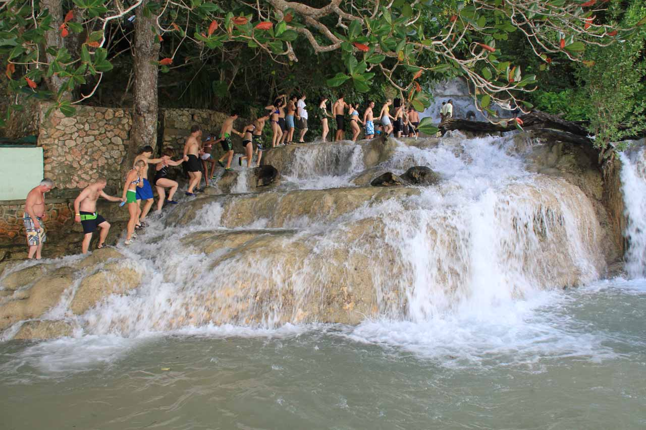 The human chain at the bottommost tier of Dunn's River Falls