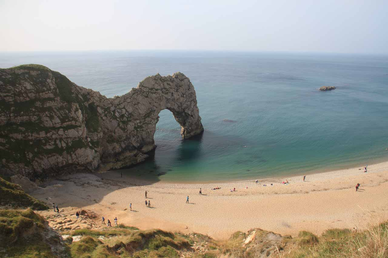 Roughly 85 miles drive east of Becky Falls was the beautiful Durdle Door, which featured a giant sea arch as well as a calm pebble beach by it along with views of the Jurassic Coast along the way