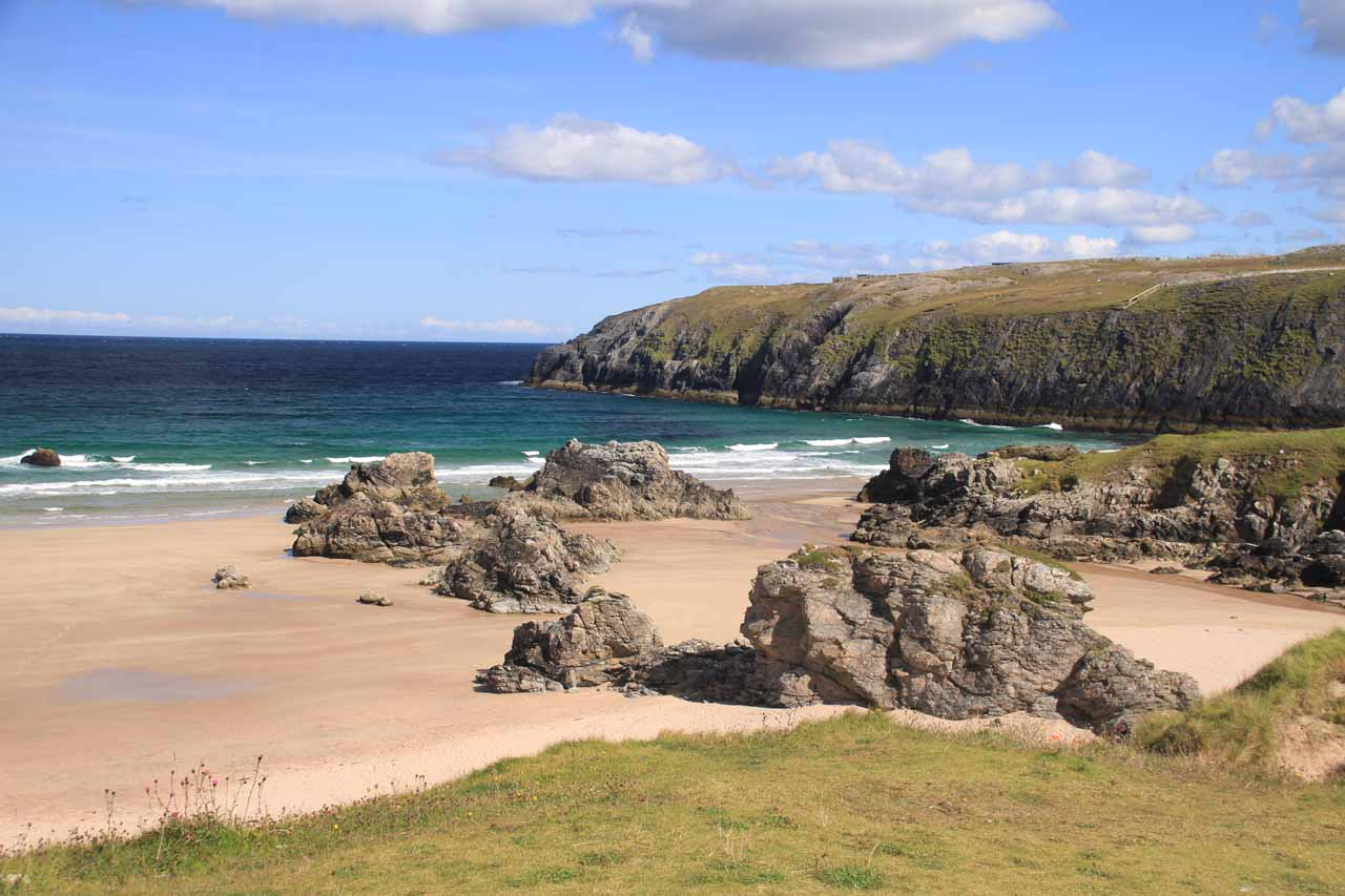 About 36 miles north of Kylesku was the town of Durness, which featured the Smoo Cave as well as this surprisingly beautiful 'award winning' beach beneath the visitor center