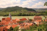 Durnstein_093_07072018 - Looking over the town of Durnstein and the Danube River from the trail leading up to the castle ruins