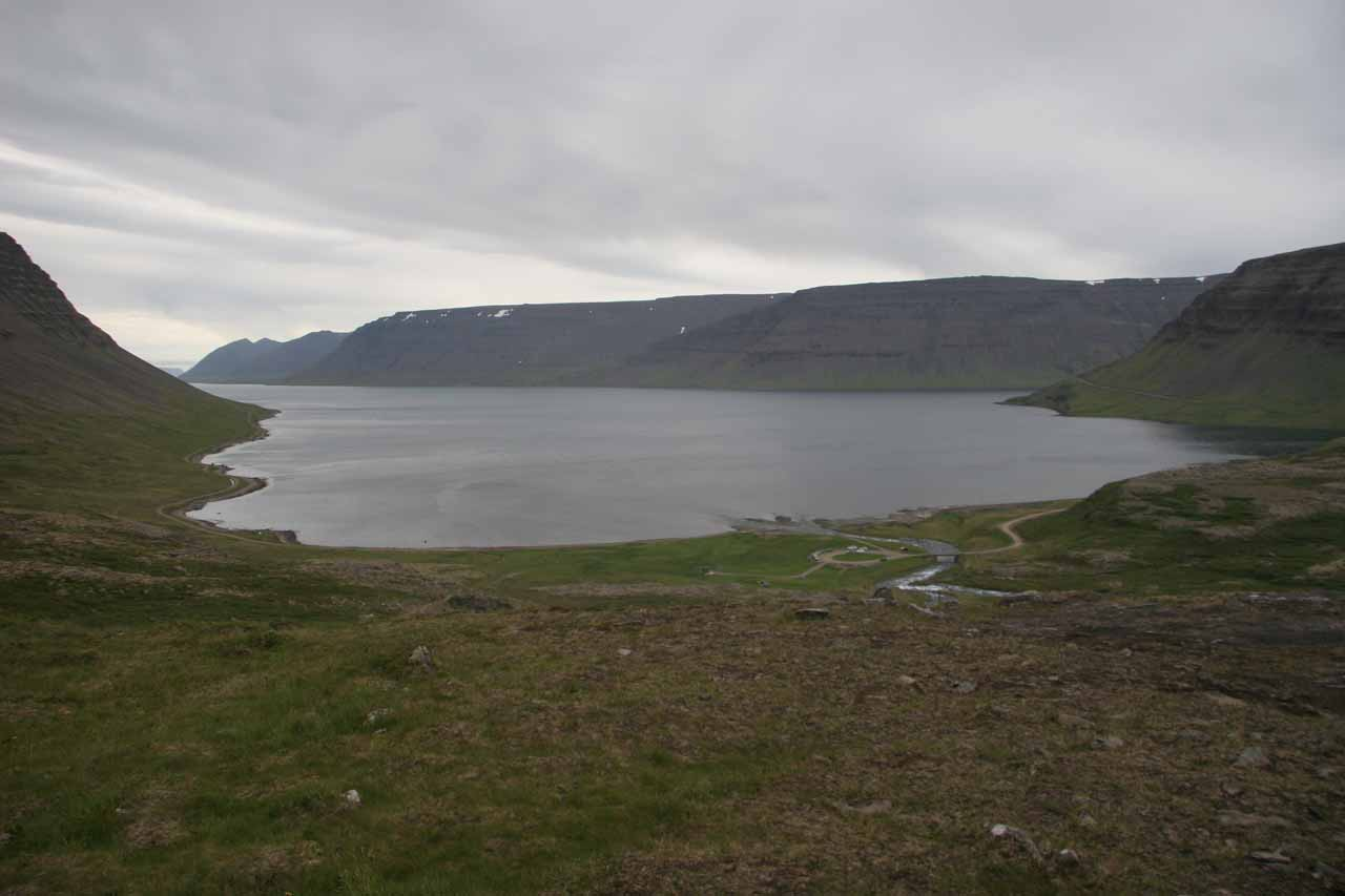 Looking down towards the Arnarfjöður from the main tier of Dynjandi