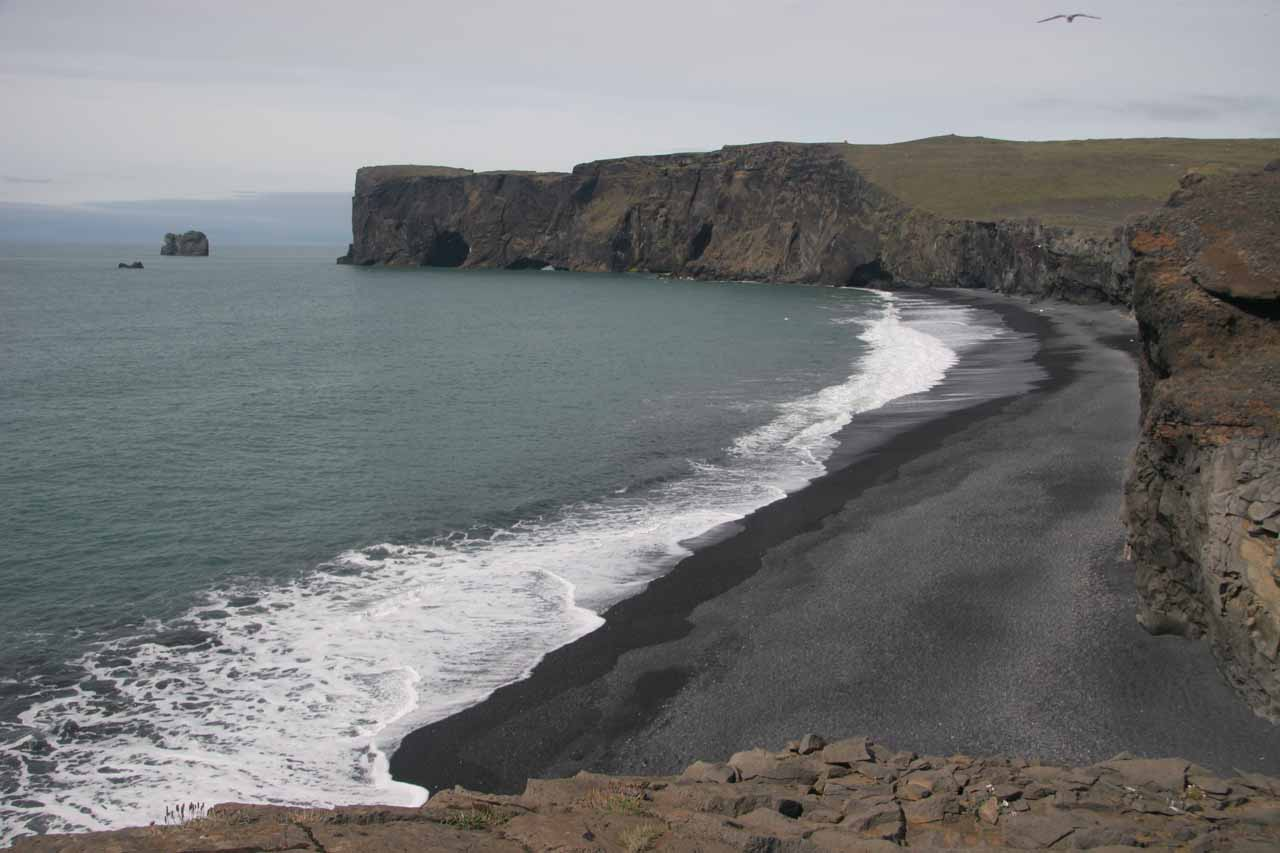 Looking west along the black sand beach from atop Dyrhólaey