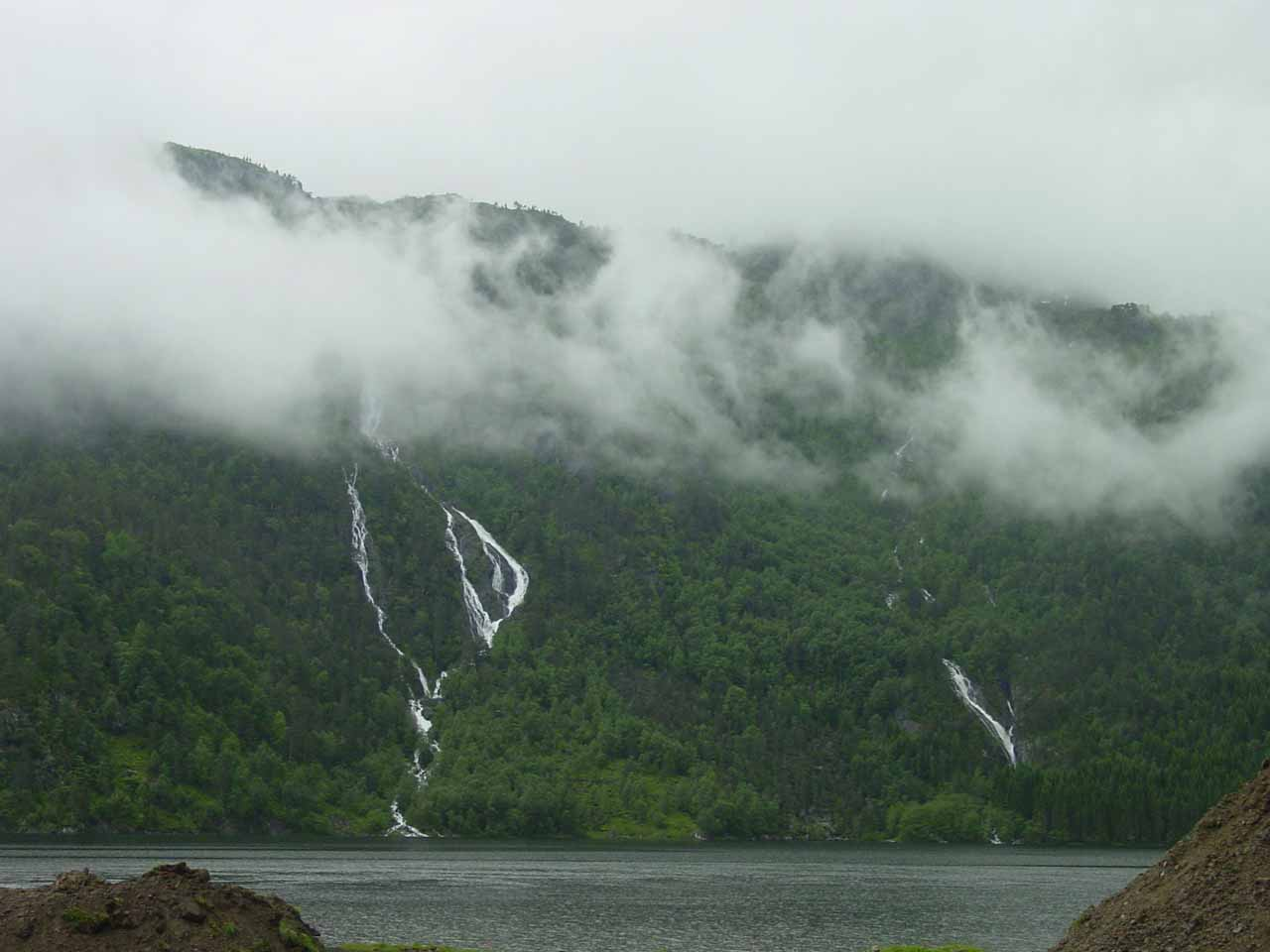 A pair of waterfalls we noticed across a lake (I think is called Rullestadvatnet)