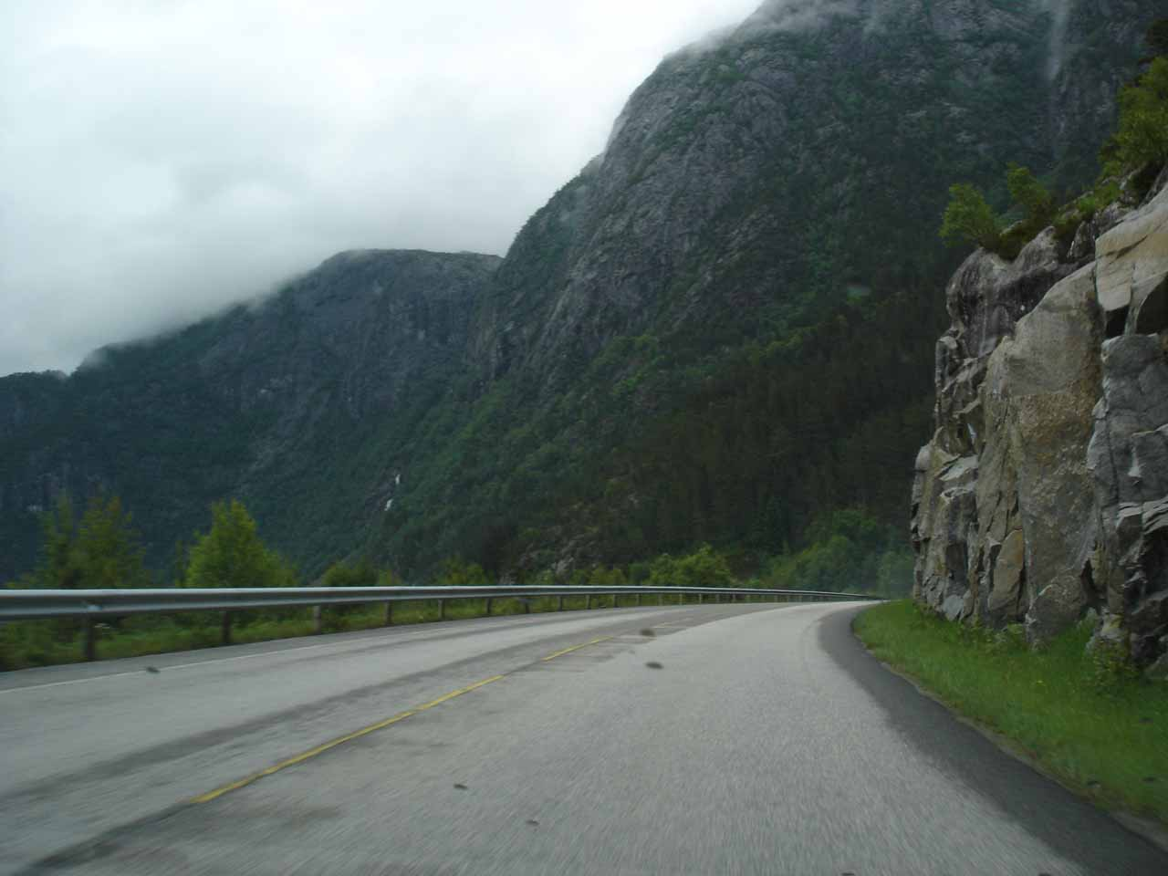 We went a little further east of Langfoss along the E134 just to see if there were other views of the falls, but it turned out there weren't