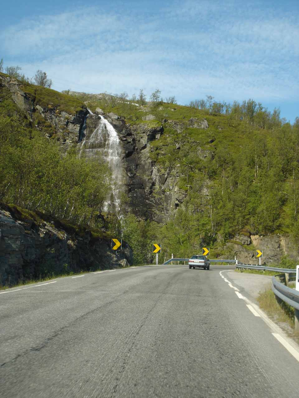 As we headed south from Storslett along the E6, we noticed this roadside waterfall