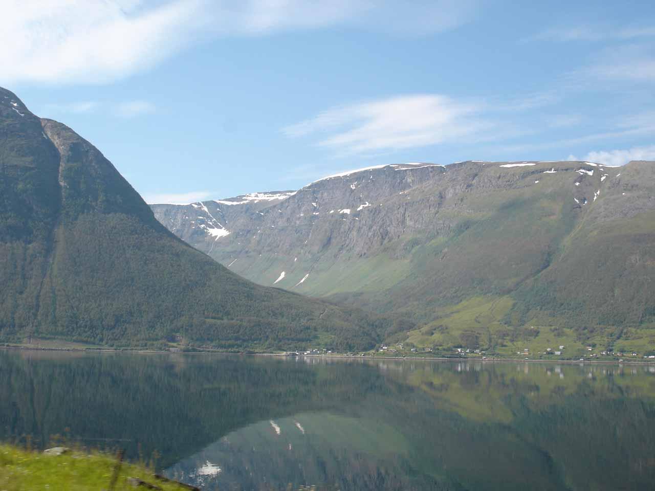 Looking across Kåfjorden towards the hamlet and valley of Skarvdalen