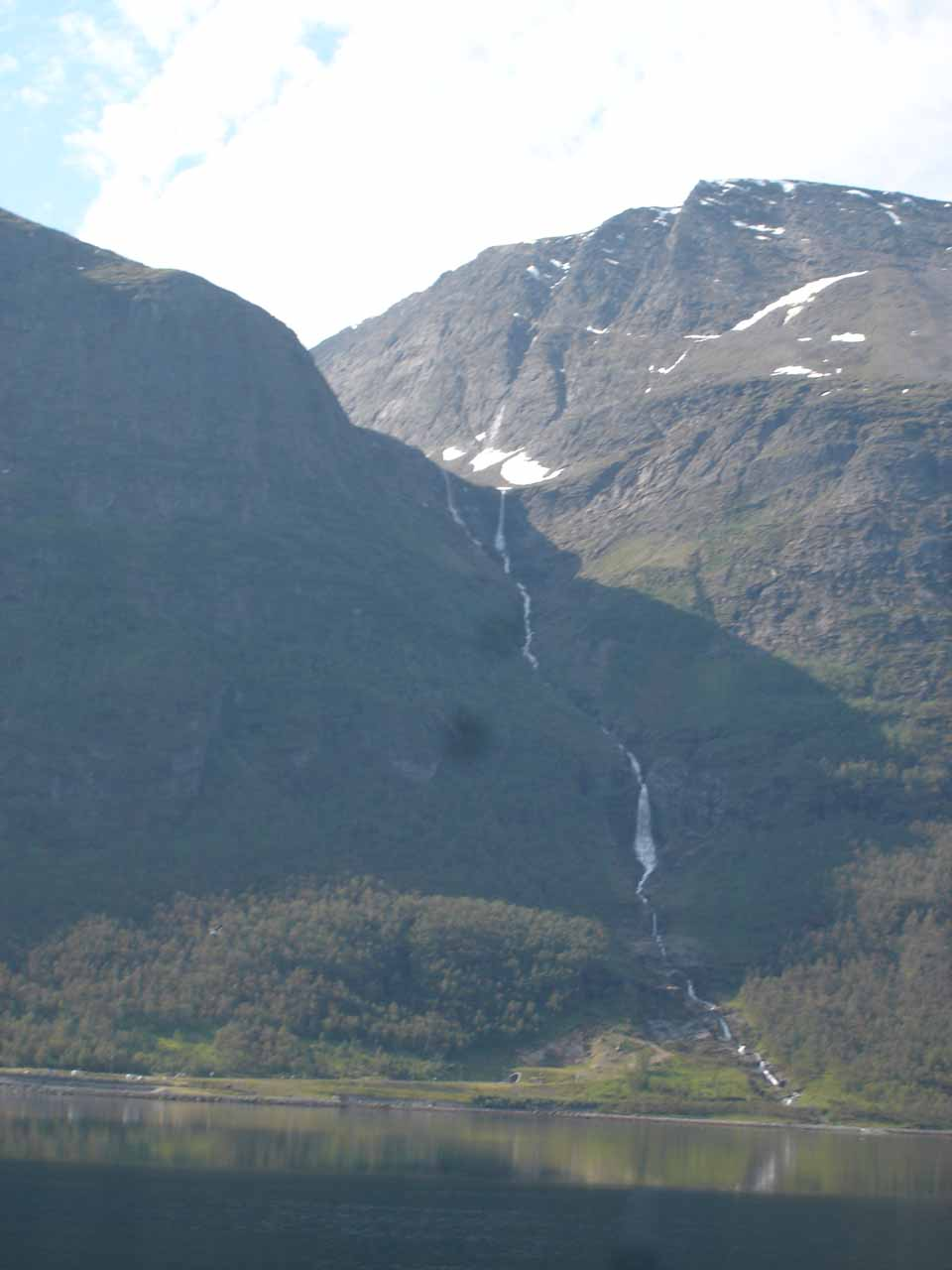 Looking back at a waterfall I'm calling Båfossen as we headed further east to the head of Kåfjorden