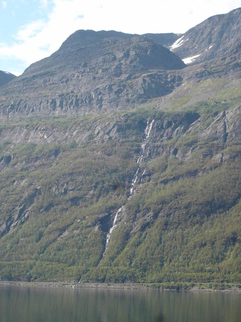 Looking across Kåfjorden towards this thin waterfall that I think is on Melkelva ('Melkfossen'?)