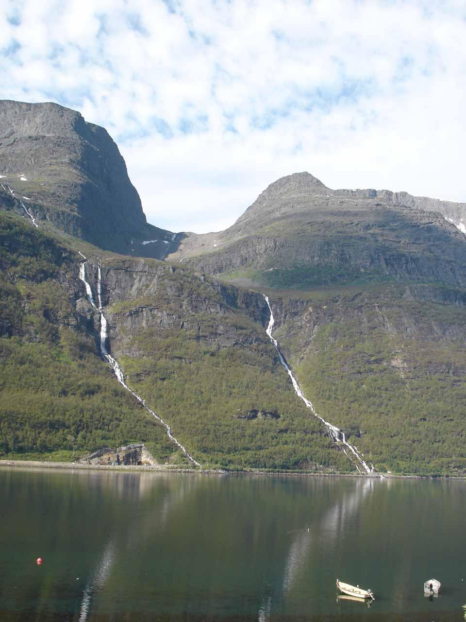 'Ytre Isfossen' (right) and 'Indre Isfossen' (left) seen across Kåfjorden