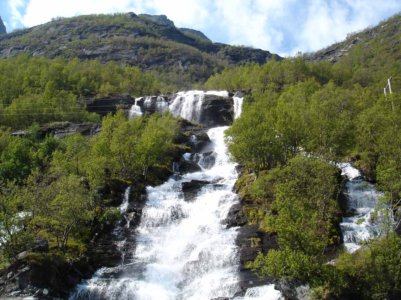 Now we were on the south side of Kåfjorden along the E6 and we got a closeup look at this waterfall though I'm not sure which stream it belonged to