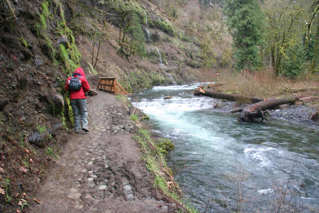 On the muddy Eagle Creek Trail