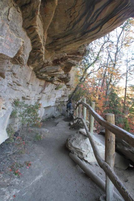 Eagle_Falls_017_20121021 - Hiking beneath cliff overhangs along the Eagle Falls Trail or Trail 9