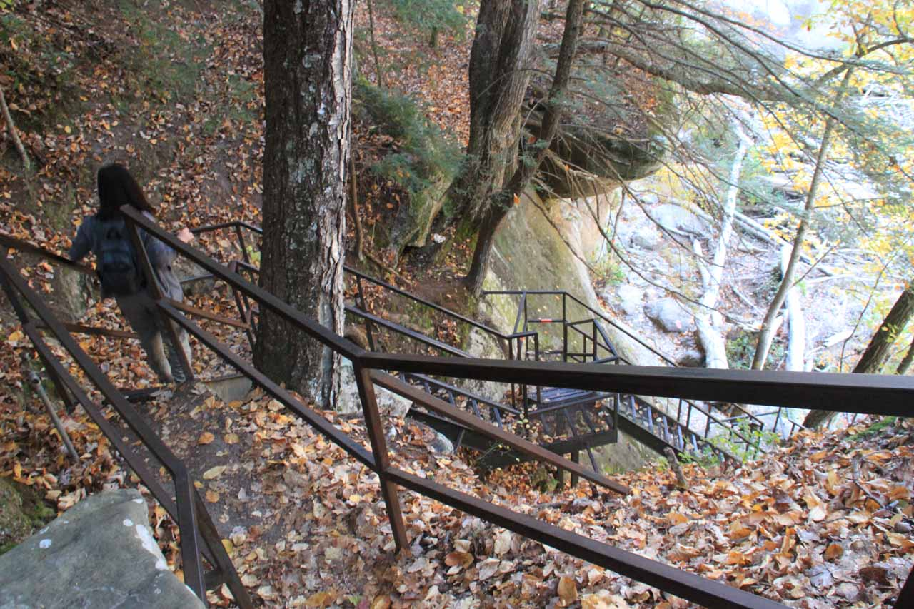 Descending stairs to get close to river level
