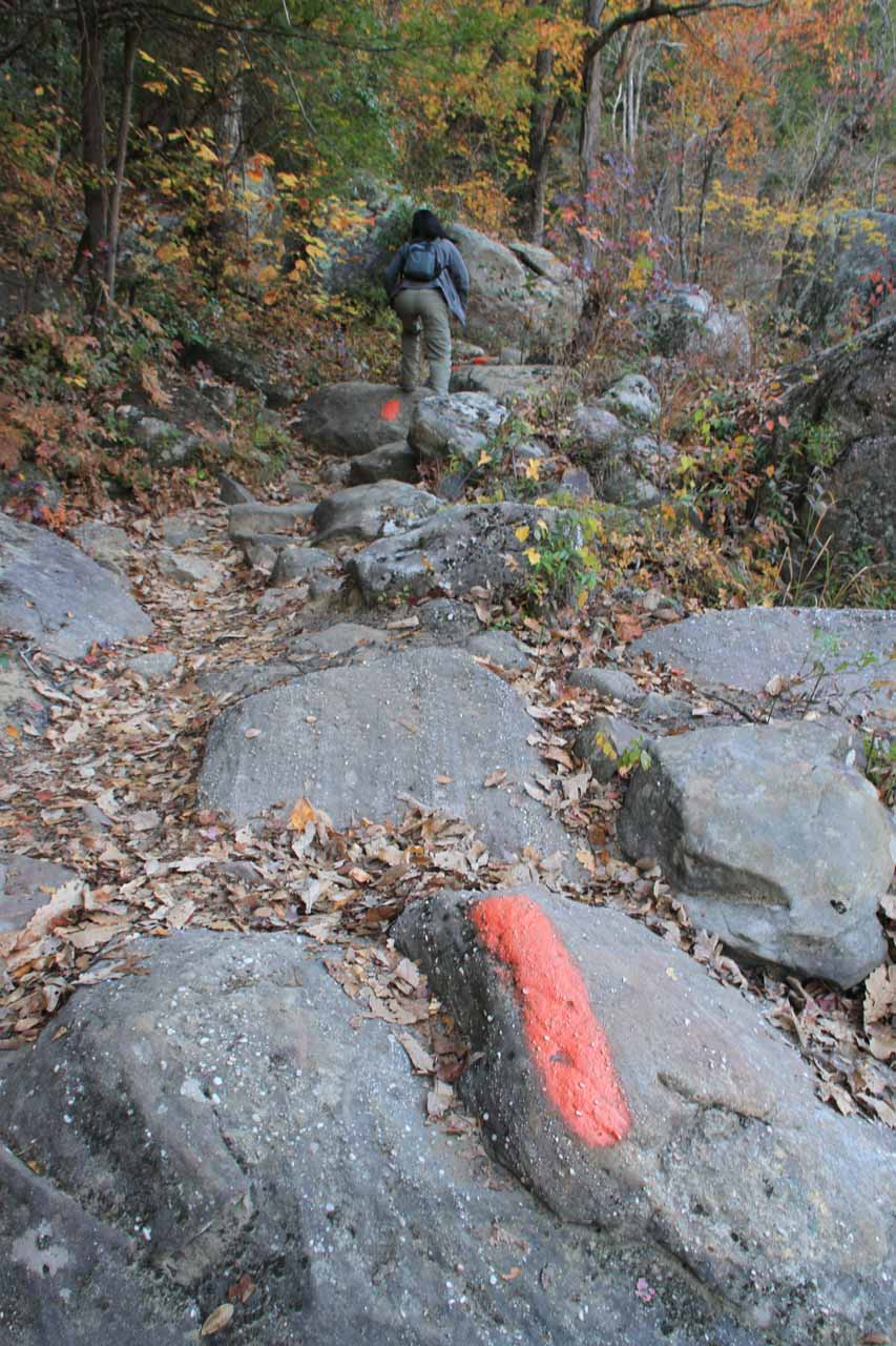 Using markings on these boulders as trail markers