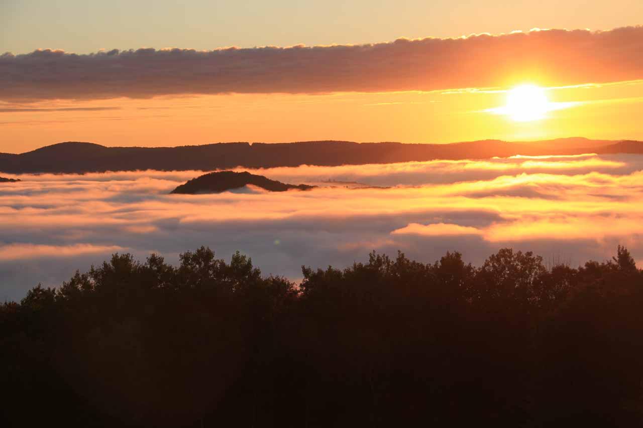 Sunrise over fog in Florida, MA