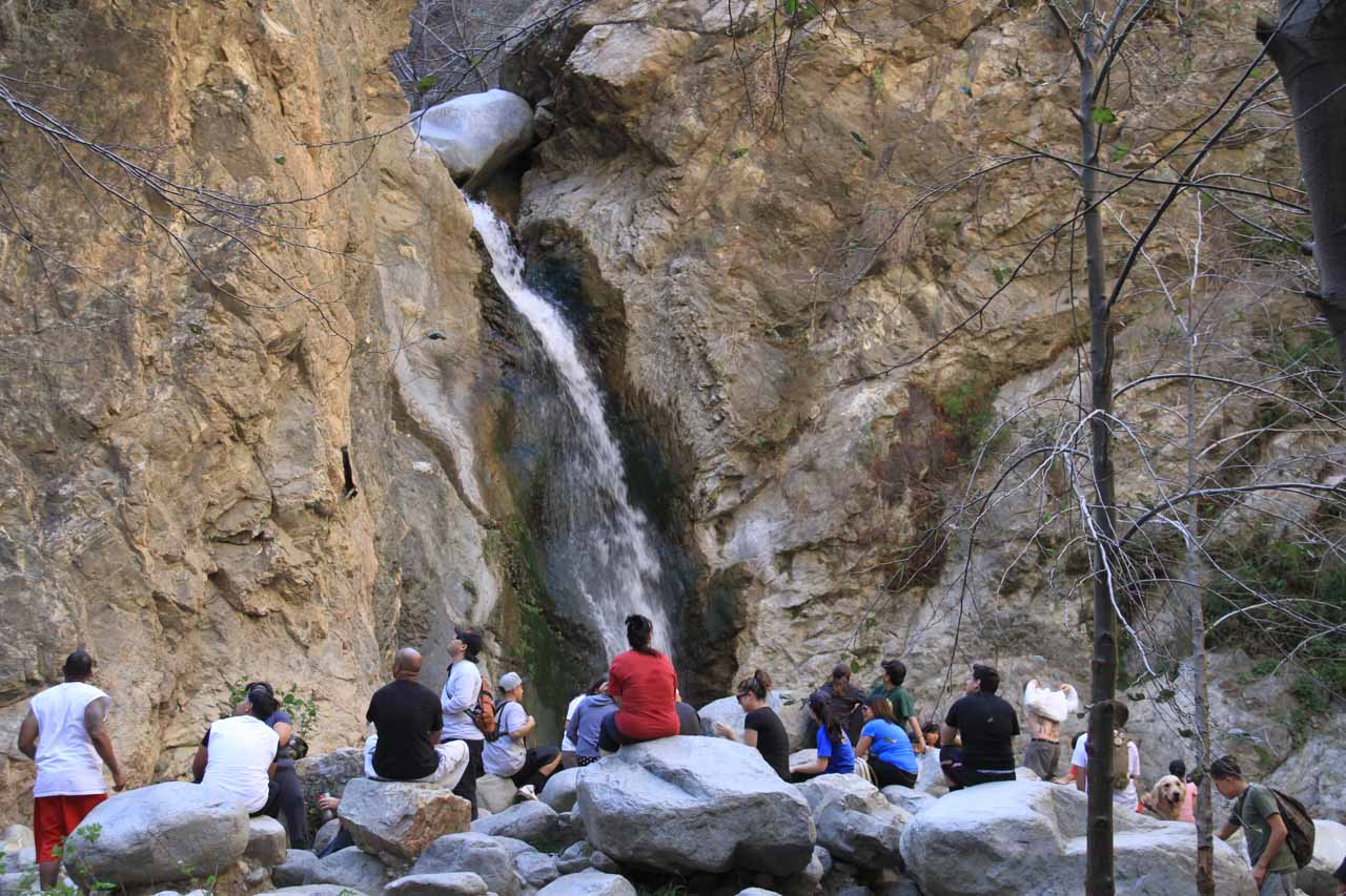 A crowd admires Eaton Canyon Falls