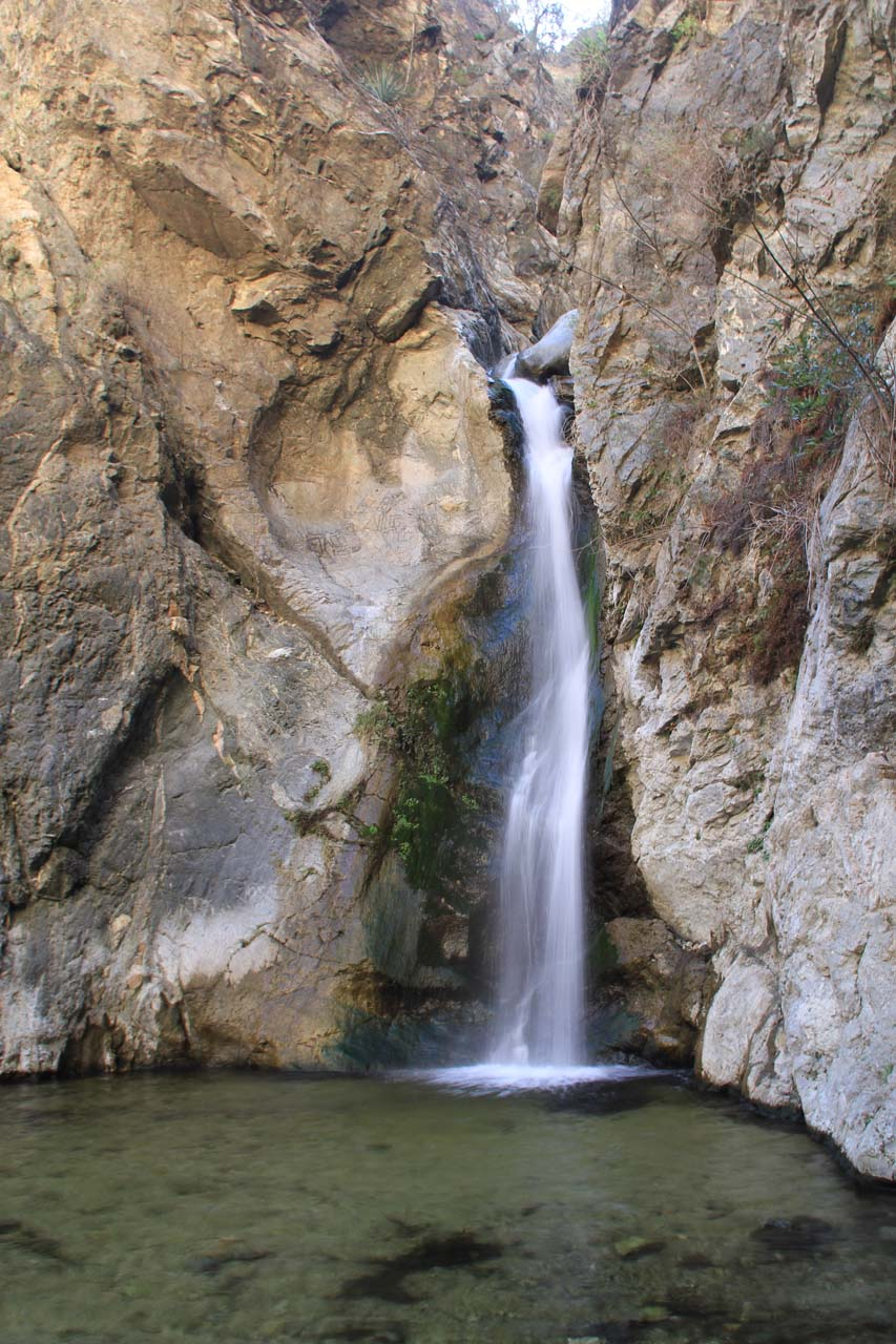 Unusual direct view of Eaton Canyon Falls in February 2012