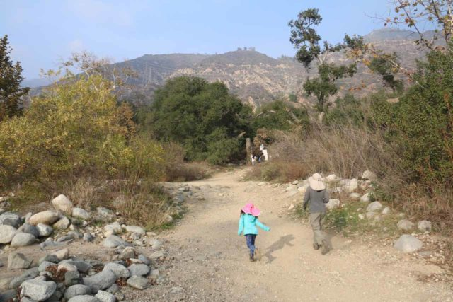 Eaton_Canyon_Falls_006_12102016 - Julie and Tahia crossing the usually-dry Eaton Canyon Wash on the way to the east bank where the Eaton Canyon Falls Trail continues