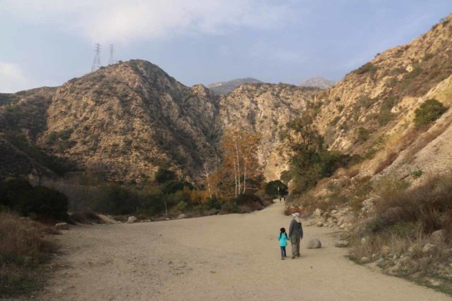 Eaton_Canyon_Falls_019_12102016 - Julie and Tahia in the late afternoon heading towards Eaton Canyon Falls