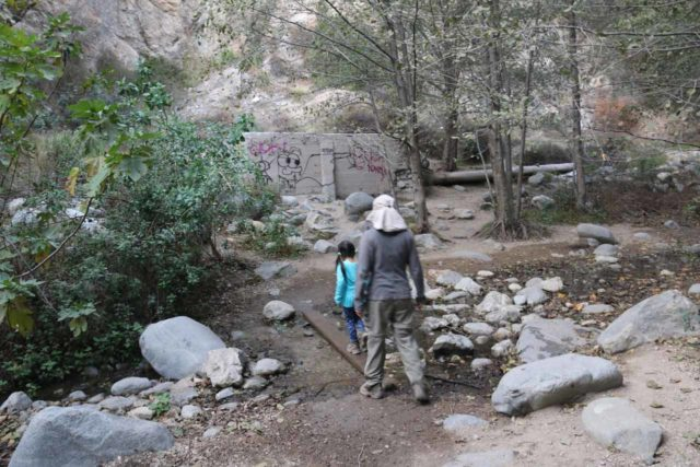 Eaton_Canyon_Falls_025_12102016 - There always seems to be a constant graffiti problem at the Eaton Canyon Falls, which makes me wonder if the City of Altadena should implement a fee system to curb it and keep maintenance costs manageable