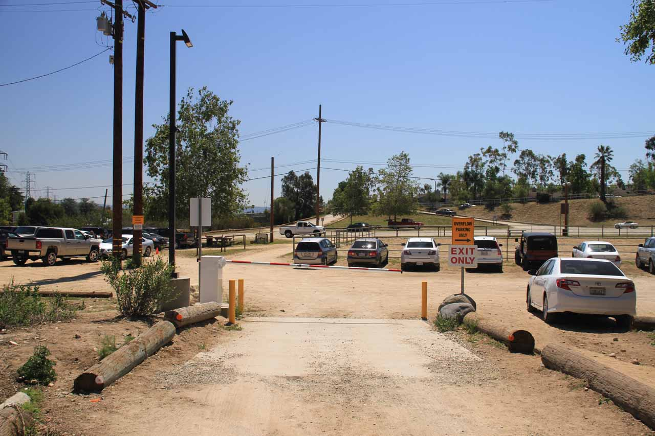 The entrance to the overflow parking area at Eaton Canyon