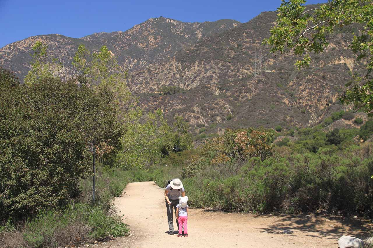 Julie and Tahia hiking on the exposed trail between the wash and the main car park