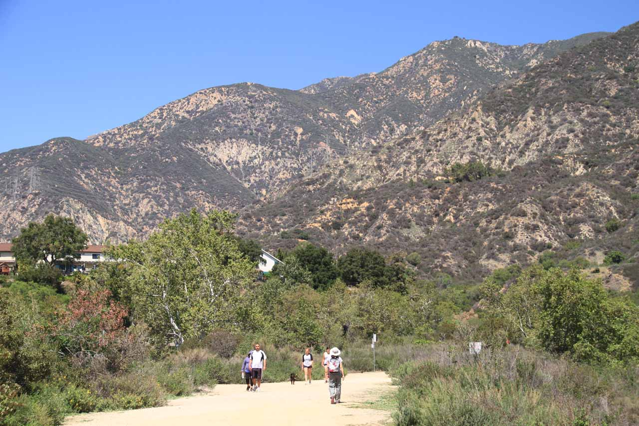 Julie and Tahia nearing the end of the start of the hike as we started to see homes bordering the wash