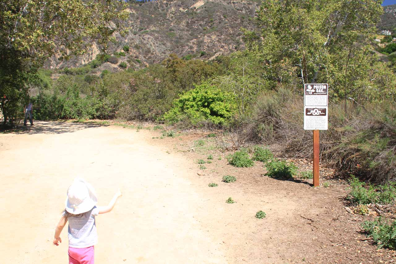 Tahia pointing out a sign showing poison oak and rattlesnakes