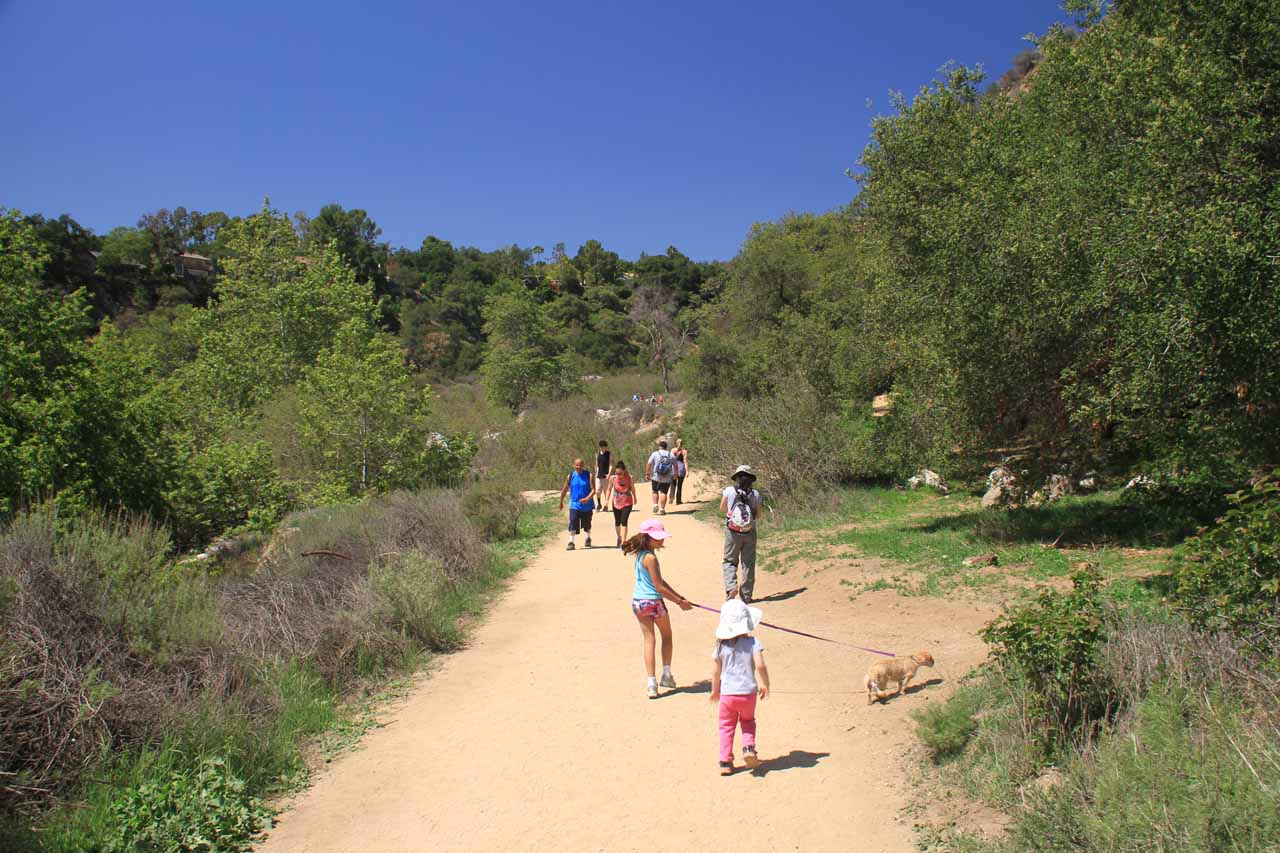 Julie and Tahia on the track alongside the wash leading to the mouth of Eaton Canyon