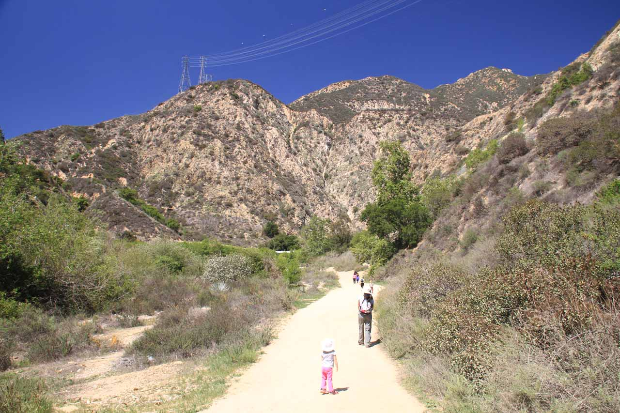 Tahia and Julie hiking towards Eaton Canyon on a hot day