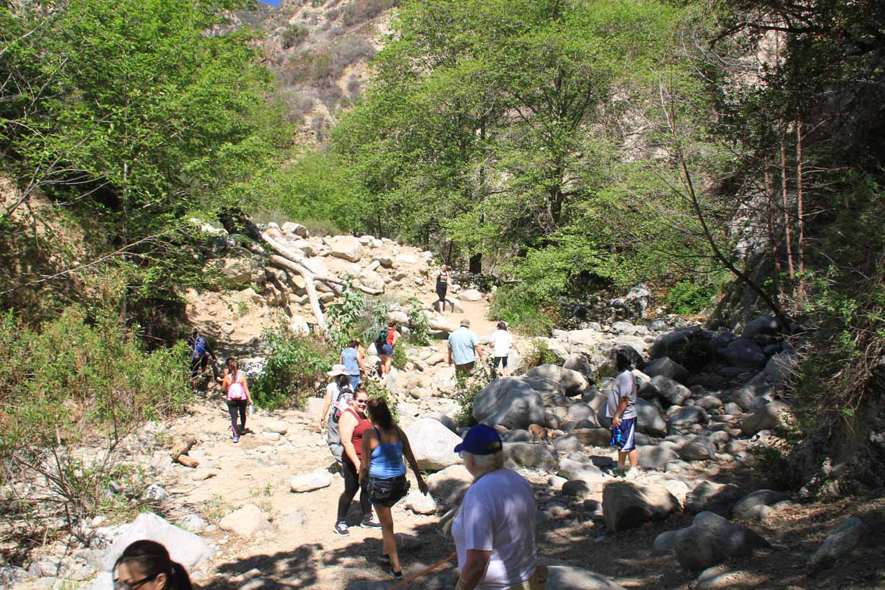 There were a lot of people on the trail even within Eaton Canyon at this creek crossing