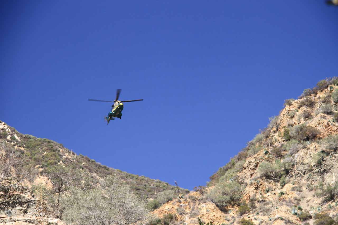 Looking up at what appeared to be a rescue chopper that was circling the canyon on our way out
