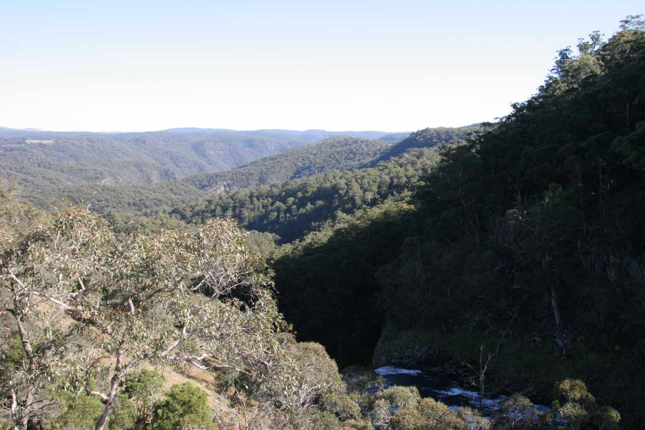 Looking downstream from the platform near the Upper Ebor Falls