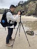 Ecola_SP_016_iPhone_04072021 - Taking pictures of the Crescent Beach Waterfall on a tripod