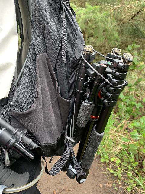 My Manfrotto BeFree 3-Way Live Advanced Tripod lashed onto the back of my day pack, which kind of weighed it down a bit since it was nearly 4.5 pounds
