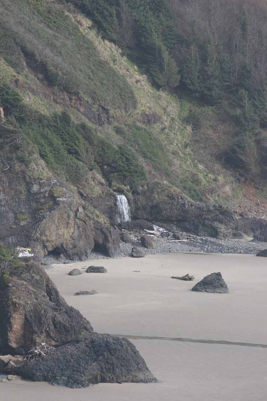 Another look at that attractive waterfall spilling onto Crescent Beach in Ecola State Park