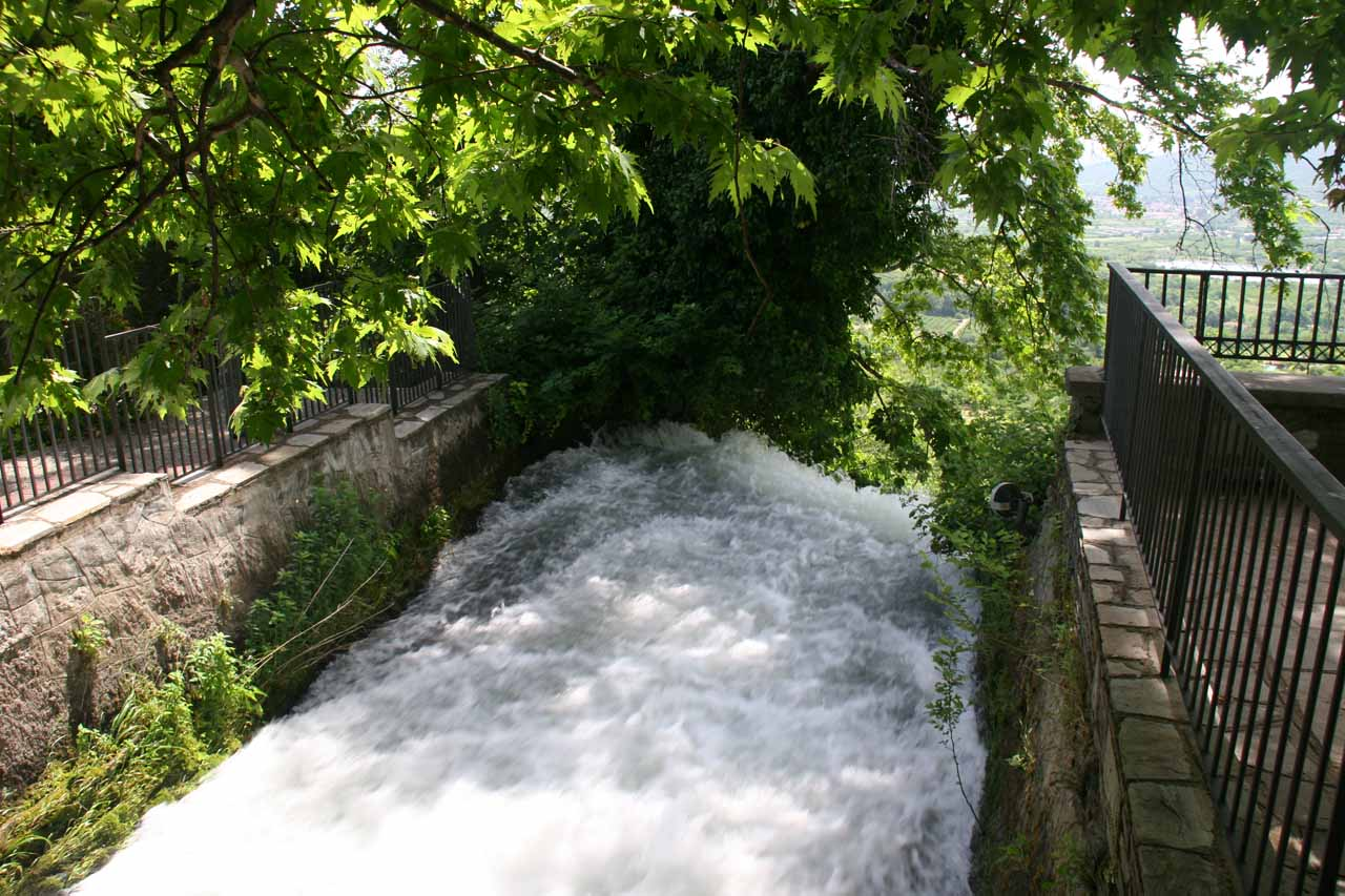 Looking downstream towards the brink of one of the Edessa Waterfalls