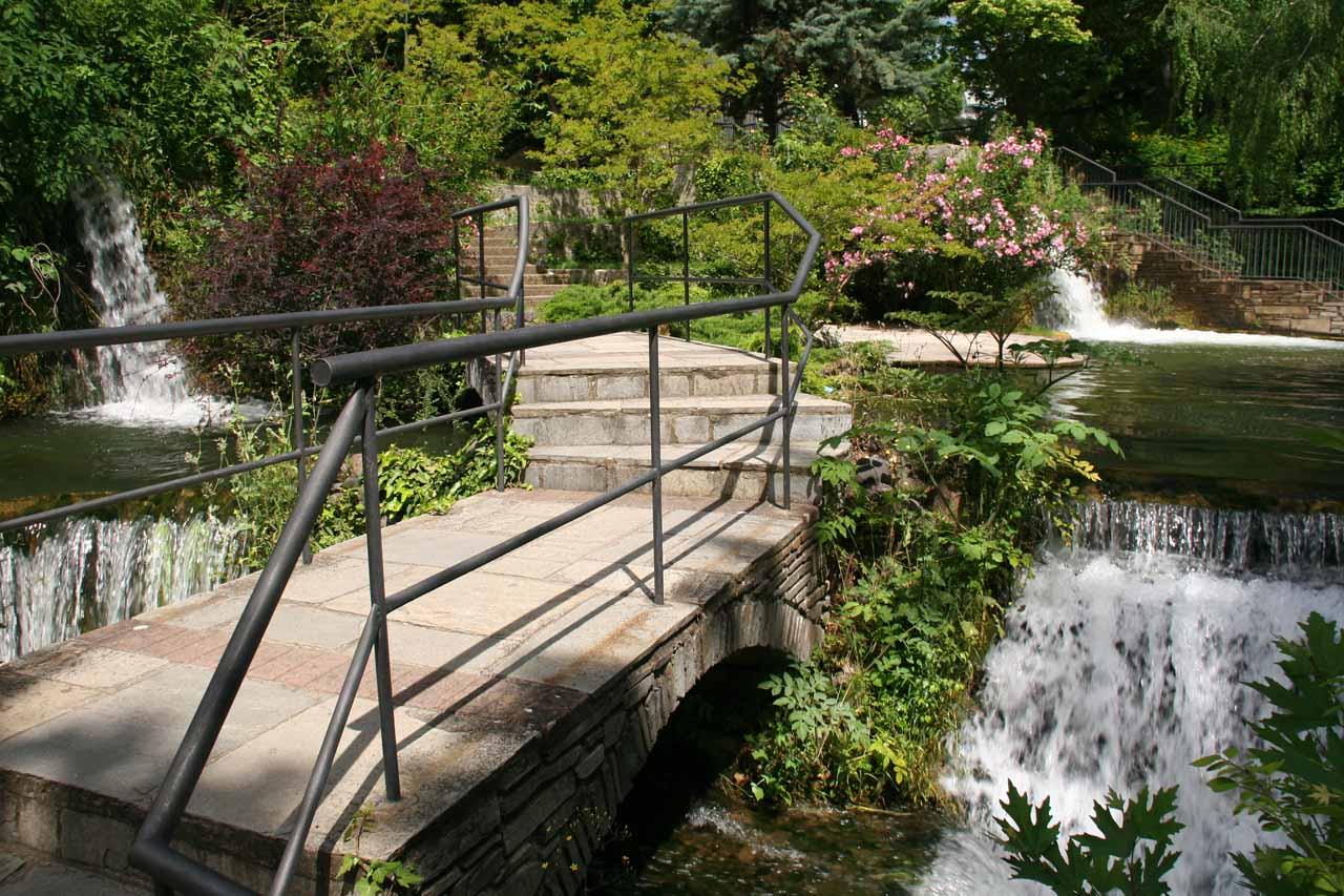 Heading into a relatively serene garden area above Edessa Waterfalls