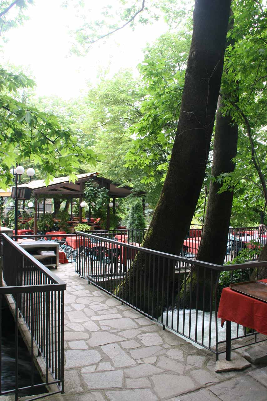 Bridges and tables at the cafe above the Edessa Waterfalls