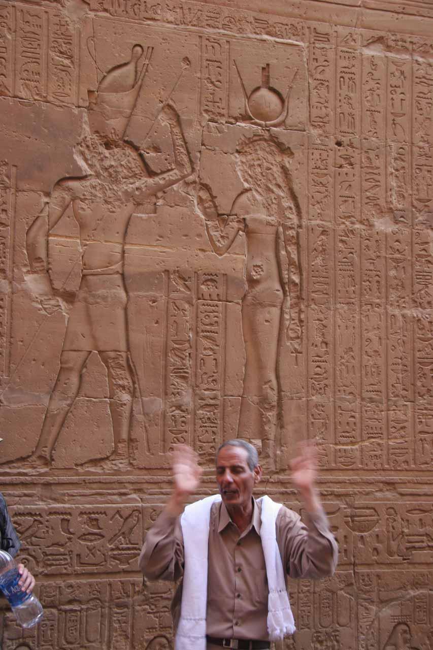 Abdallah explaining some of the hieroglyphs at Edfu Temple