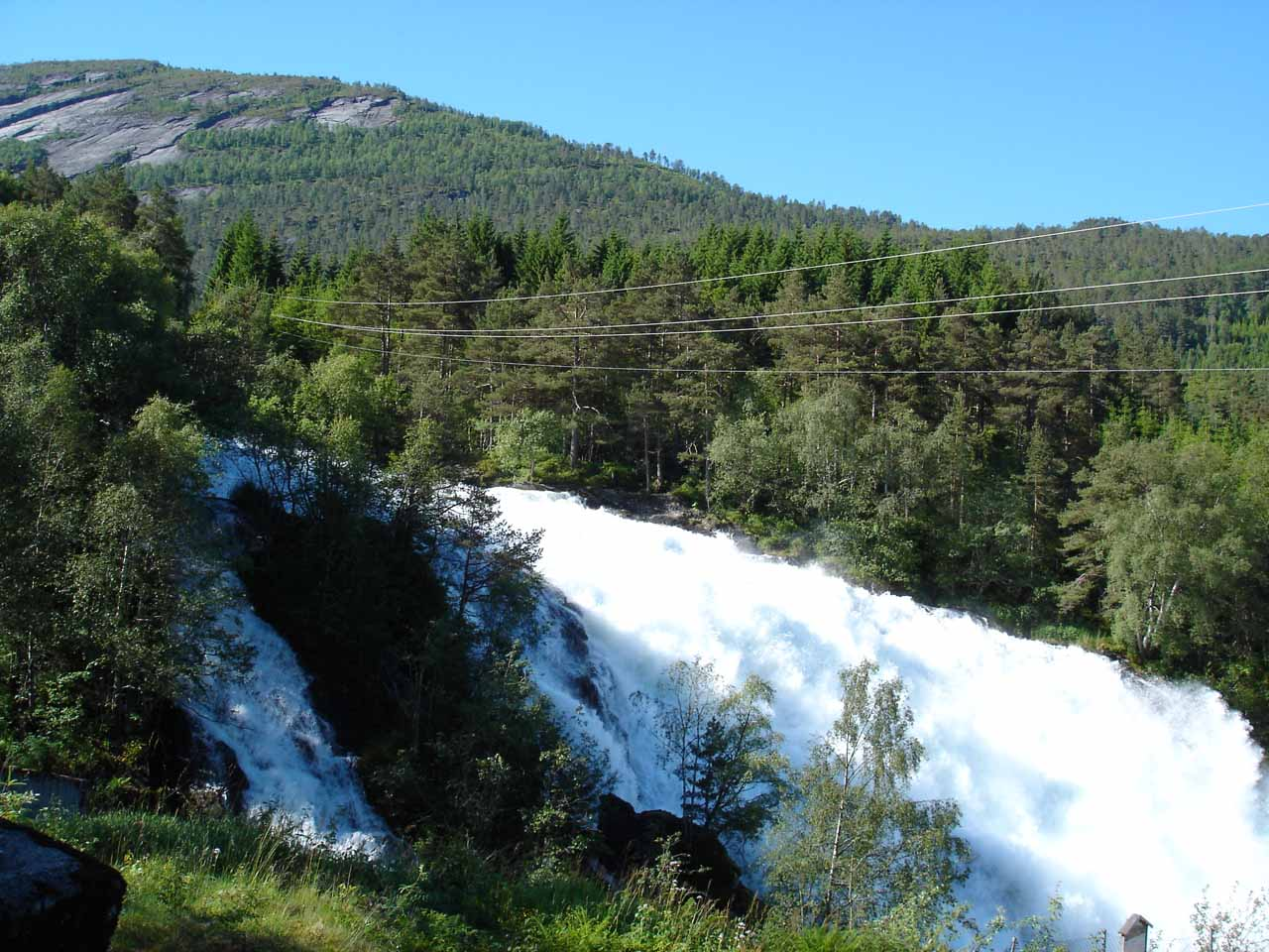 This was the view of Eidsfossen from Julie's perspective as she went right up to the fence by the salmon ladder besides the falls