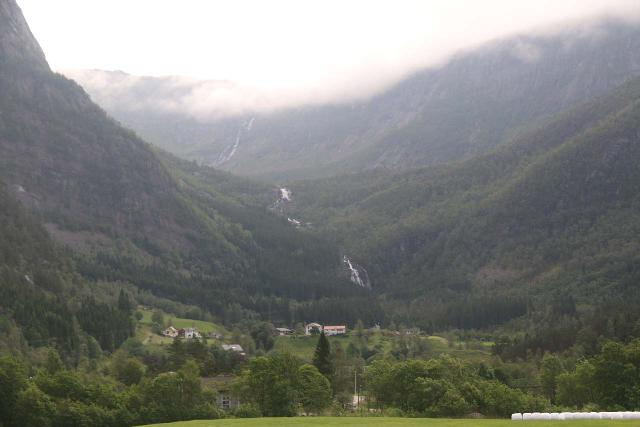 Eidslandet_001_06272019 - Contextual view of both Stigfossen (bottom) and Fjellfossen (top) as seen from the hamlet of Eidslandet in Vaksdal