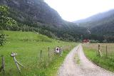 Eidslandet_008_06272019 - From the very end of the road at the community of Myster, I reached a dead-end surrounded by private farms and driveways.  This was the view towards bottom of Stigfossen behind this sign for Leirmoo