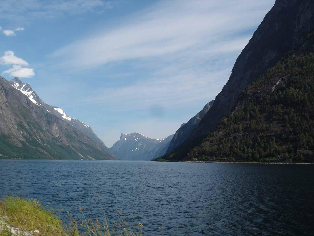 Looking towards the lake Eikesdalsvatnet on our way to Mardalsfossen
