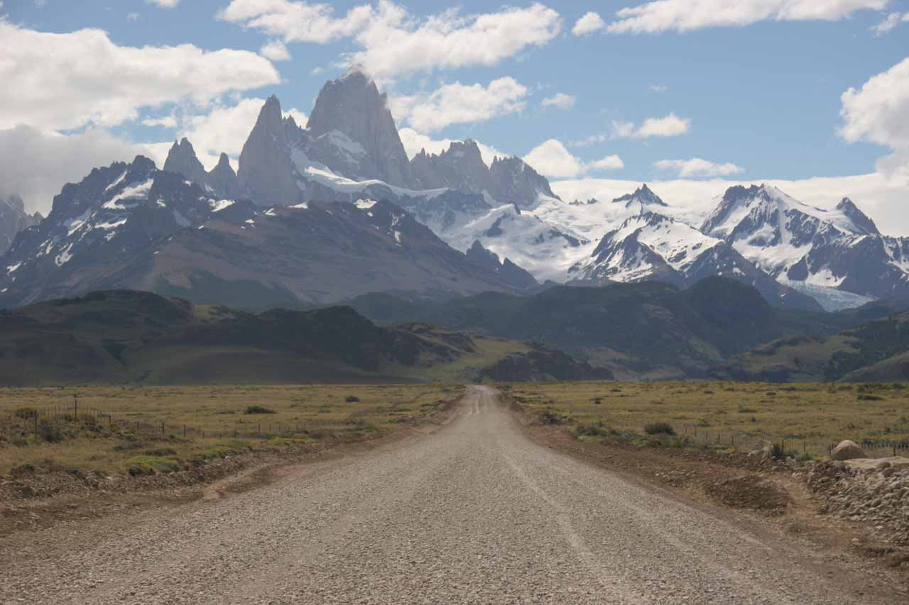 The Fitz Roy peaks towering over Ruta 23 en route to El Chaltén