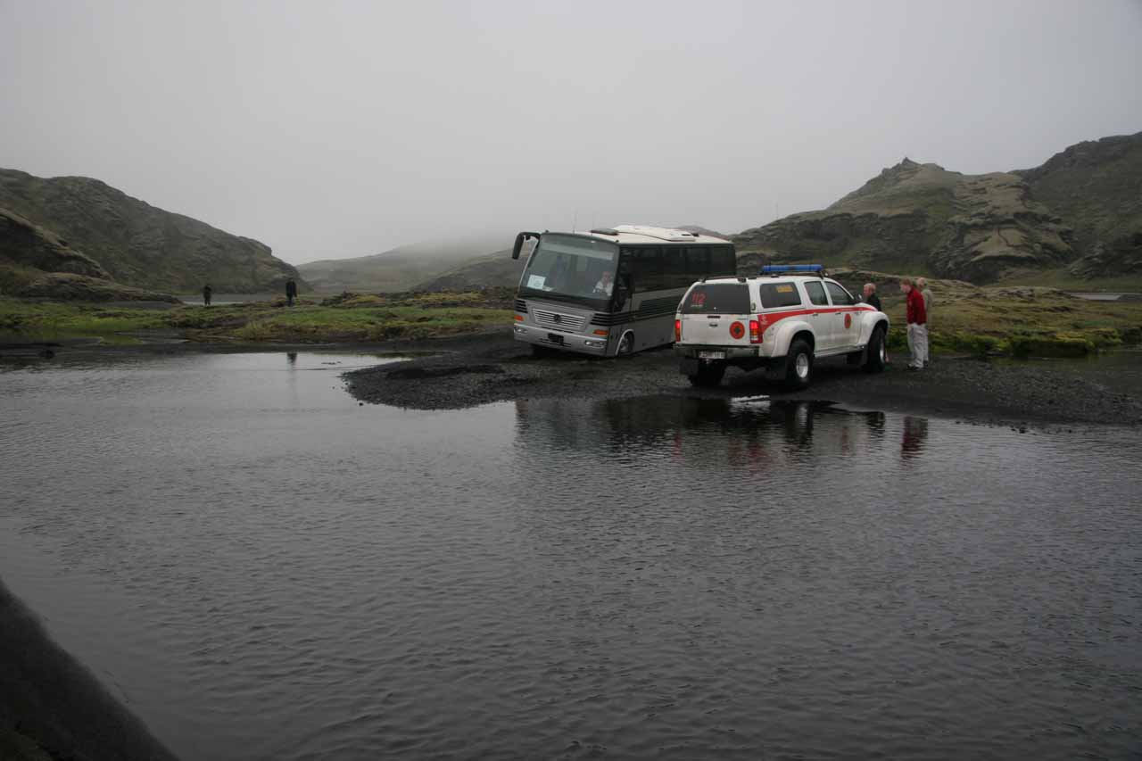 When our bus stopped at Ófærufoss again, our driver was helping this tour bus try to get unstuck, but it ultimately needed a rescue vehicle to pull it out