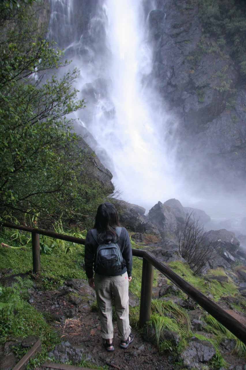 Julie getting pelted by the mist of Ellenborough Falls