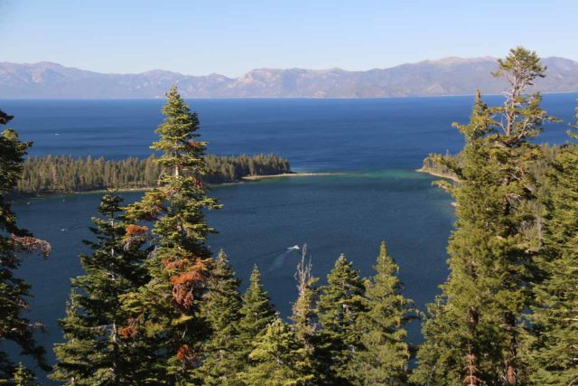 Emerald_Bay_037_06222016 - Perhaps one of the most scenic spots to view Lake Tahoe was from Inspiration Point overlooking Emerald Bay on the southwestern shores of the lake, where the sapphire color of the lake was apparent