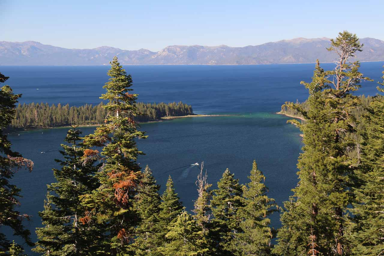 Perhaps one of the most scenic spots to view Lake Tahoe was from Inspiration Point overlooking Emerald Bay on the southwestern shores of the lake, where the sapphire color of the lake was apparent