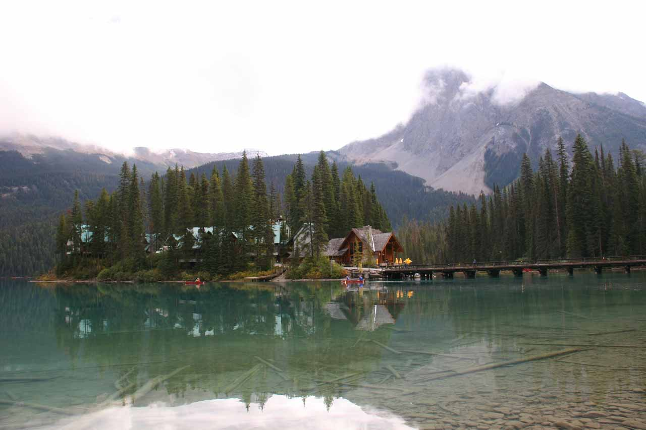 Further along the road past Natural Bridge is the beautiful Emerald Lake